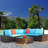 Polar Aurora 6pcs Patio Furniture Set PE Brown Rattan Wicker Sectional Outdoor Sofa Set Outside Couch w/Washable Seat Cushions & Modern Glass Wedge Table for Patio, Backyard, Pool-Blue