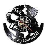 RFTGH I Love My Rottweiler Cane Tedesco Orologio da Parete Fatto a Mano Arte Vinile Orologio Orologio Cucciolo Animale Parete Arte Soggiorno Decorazione 12 Pollici