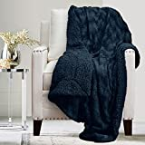 The Connecticut Home Company Soft Fluffy Warm Faux Fur and Sherpa Throw Blanket, Luxury Thick Fuzzy Blankets for Home and Bedroom Décor, Washable Accent Throws for Sofa Beds, Couch, 65x50, Navy Blue