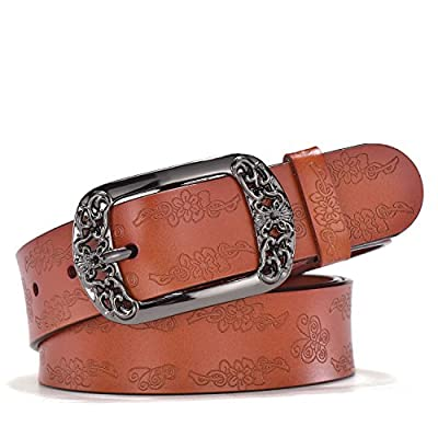 """TUNGHO Vintage Genuine Leather Belts for Women with Embossed Pin Buckle for Western Cowgirl Jeans Dresses Pants Plus Size (XL, Max pants size 45"""", Brown)"""