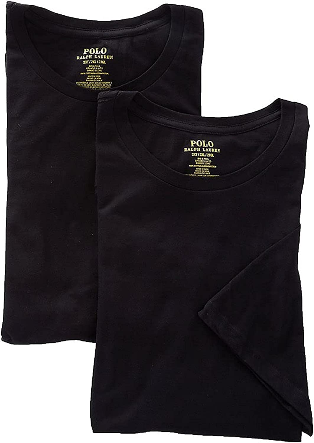 Classic Fit Tall Crew Neck T-Shirt 2-Pack Black