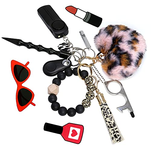 Self Defense Keychain for Women and Girls,Key chain Set for Woman with Personal Safety Alarm,Keychain wristlet with Window Breaker, Pom Pom and No Touch Door Opener Gifts set