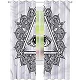 jinguizi Cortina de ventana con ojo, estilo vintage, tatuaje bohemio, oculto, 52 x 72, cortinas opacas para dormitorio de los niños