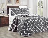 3-Piece Oversize (115' X 95') Fine Printed Prewashed Quilt Set Reversible Bedspread Coverlet (California) Cal King Size Bed Cover (Dark Grey, White, Quatrefoil Moroccan Lattice)