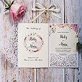 Biglietti per inviti di nozze tagliati al laser bianca con perle floreali e carte RSVP per inviti matrimonio, compleanno, nuziale doccia, fidanzamento