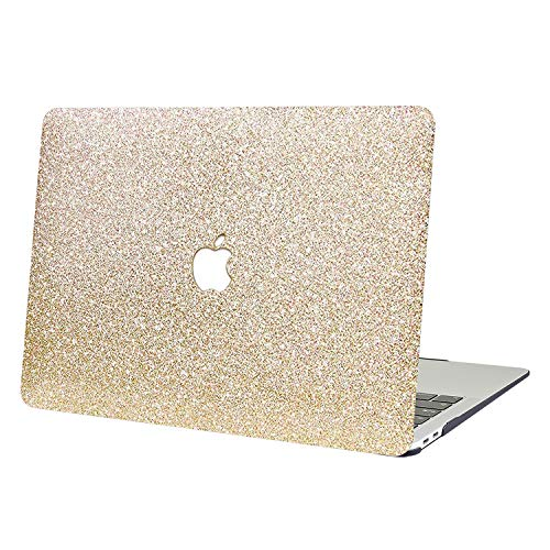 AUSMIX MacBook Air 13 Case,2 In 1 Bling Crystal Smooth Plastic Hard Shell Protective Case Cover of Sparkly Glitter Series for Apple Laptop MacBook Air 13' Model A1369/A1466 - Shiny gold