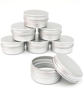 Flyme Aluminium Lip Balm Pots Makeup Cosmetic Cream Jar Pot Bottle Container Balm Nail Art Pot Tin Case Container 10PCs Silver