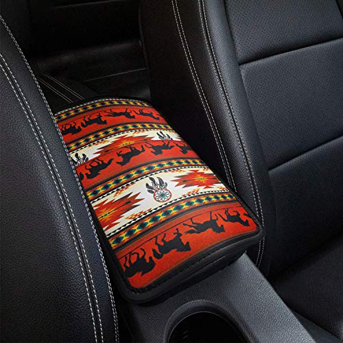 SUHU Car Armrest Cover Universal Auto Center Console Pad, Fit Soft Comfort Armrest Seat Box Cover Protector Fit for SUV/Truck/Car, Stylish Pattern Printed Console Cover Pad, Retro Horse