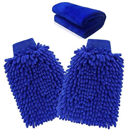 SODIAL Gant en Microfibre, Gant de Lavage de Voiture (Paquet de 3) Gant de Nettoyage de Microfibre de Voiture de Gants de Lavage de Microfibre de Nouille avec Le Chiffon de Polissage