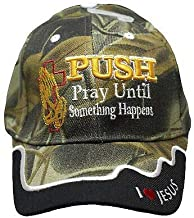Push Pray Until Something Happens I Love Jesus Camo Embroidered Cap CAP826 Hat