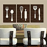 Kitchen Wall Art Canvas or Print Wood Utensils Decor Fork Spoon Knife Tools Wall Decor Rustic Decor Country Dining Room Set of 3 8x10 inch