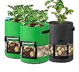 3 Piezas 7 Galones Bolsa de Cultivo de Papa Saco Plantar Patatas con Manija de Ventana de Velcro para Patata Cebolla Zanahoria Tomate Fresa Flor