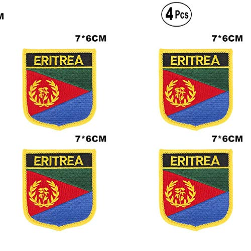 Eritrea Shiled Shape vlag patches nationale vlag patches voor Cothing DIY Decoratie