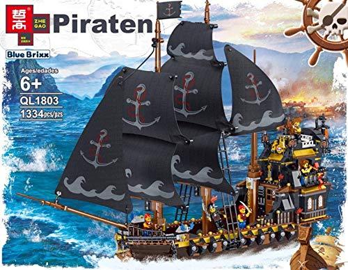 BlueBrixx QL1803 Marke ZHE GAO – Piratenschiff - große Galeone aus Klemmbausteinen mit 1334 Bauelementen....