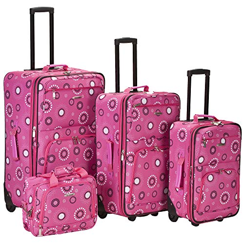 Rockland Impulse 4-Piece Softside Upright Luggage Set, Pink pearl, (14/19/24/28)