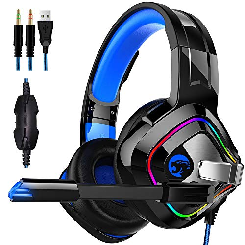 YHONG-Headsets Stereo Gaming Headset für PS4 Xbox One PC 3.5mm Jack mit Noise Cancelling Mikrofon Bass Surround Soft Speicher Ohrenschützer LED Lichter und Geflochten Kabeler Kopfhörer