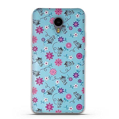 FUBAODA für Meizu M2 Note Hülle, 3D Erleichterung Bunte Blumen Muster TPU Hülle Schutzhülle Silikon Hülle für Meizu M2 Note