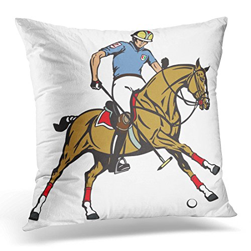 Sdamas Decorative Pillow Cover Equestrian Polo Sport Player Riding Pony Horse and Holding Mallet Stick to Hit Ball The in Gallop Throw Pillow Case Square Home Decor Pillowcase 16x16 Inches
