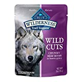 Blue Buffalo Wilderness Trail Toppers Wild Cuts High Protein, Natural Wet Dog Food, Chunky Beef Bites in Hearty Gravy 3-oz pouches (Pack of 24)