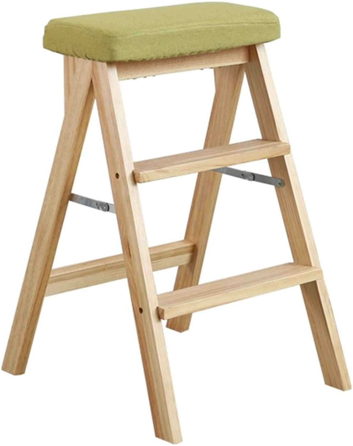 ZRXian-Step Stools Solid Wood Ladder Stool Folding Fold up Steps Stool Multifunctional Wooden Kitchen Office Use Ladder Chair with 3 Steps - Green
