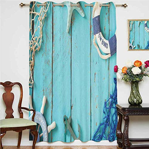 Nautical Decor Sliding Door Curtain Top View Nautical Theme Life Style Vintage Steering wheel Stars Net Lifebuoy Grommets Panels Printed Curtains ,Single Panel 63x84 inch,for Glass Door