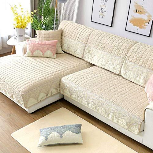 Jonist Funda de sofá Simple, Pase de Temporada, cojín de algodón, Antideslizante, Lavable a máquina, Escudo protector-L-90240cm