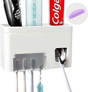 Always seventeen Toothpaste Dispenser Toothbrush Holder Hands Free Wall Mount Electric Toothbrush Set Toothpaste Squeezer Kit with Dustproof Cover and Super Sticky Sticker (3in1 Toothbrush Holder)