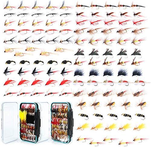 MAXIMUMCATCH Fliegenfischen 120 Stück Fliegen mit Fliegenbox Kombi Trocken- / Nassfliegen, Nymphen, Luftschlangen, handgefertigte Fliegenfischerköder (120 Fliegen + Fliegenbox)