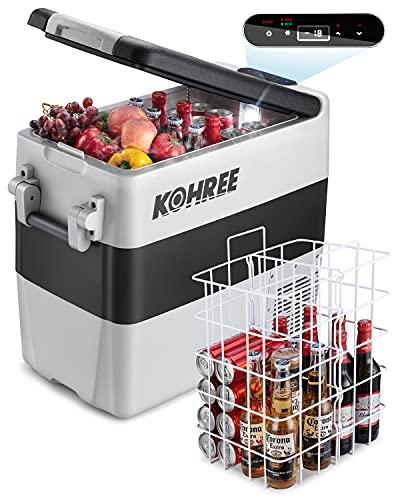 Kohree 12 Volt Refrigerator Portable Car fridge 53 Quart (50L) Dual Zone Fast Cooling Freezer (-4℉-50℉), Travel Electric Coolers for Truck, Vehicles, RV, Camping, Boat and Household-12V/24V DC and 110V/240V AC