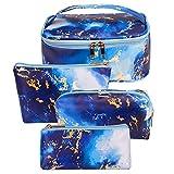 Bizcasa 4 Pezzi Borse da Toilette, make up borse da viaggio, Beauty Case da Viaggio, Cosmetici Trucco Pochette da Toilette Organizer Quattro Dimensioni