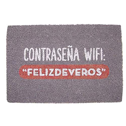 Hogar y Mas Felpudo Entrada Fibra Coco Natural WiFi - Morado