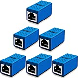 Greluma 6 Piezas Acoplador RJ45, Acoplador de red, Conectores Ethernet, Acoplador en línea Blindado para Conector Extensor de Cable Ethernet Cat7 / Cat6 / Cat5e / Cat5, Hembra a Hembra (Azul)
