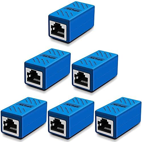 Greluma 6 pz accoppiatore RJ45, accoppiatore di rete, connettori Ethernet, accoppiatore in linea schermato per connettore prolunga cavo Ethernet Cat7 / Cat6 / Cat5e / Cat5 - da femmina a femmina