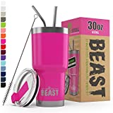 BEAST 30oz Pink Tumbler - Stainless Steel Insulated Coffee Cup with Lid, 2 Straws, Brush & Gift Box