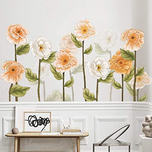 Vinilos Pared Para Pegatinas de pared de flores amarillas para sala de estar, dormitorio, sofá, TV, decoración de pared, calcomanías de vinilo para pared