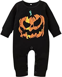 Newborn Baby Boys Girls Clothes Halloween Long Sleeve One-Piece Jumpsuit Pumpkin Ghost Printed Outfits