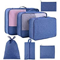 TuTuShop 7-Pieces Luggage Packing Organizers with Shoe Bag and Toiletry Bag