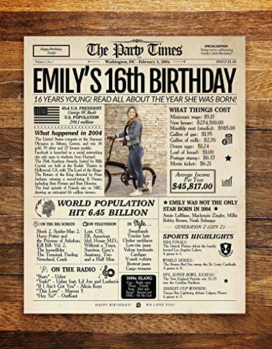16th Birthday Newspaper Poster Sign, Sweet 16 Birthday Poster PRINTABLE, 16 Years Ago Back in 2004, 16th Birthday Gift, Sweet 16 decoration