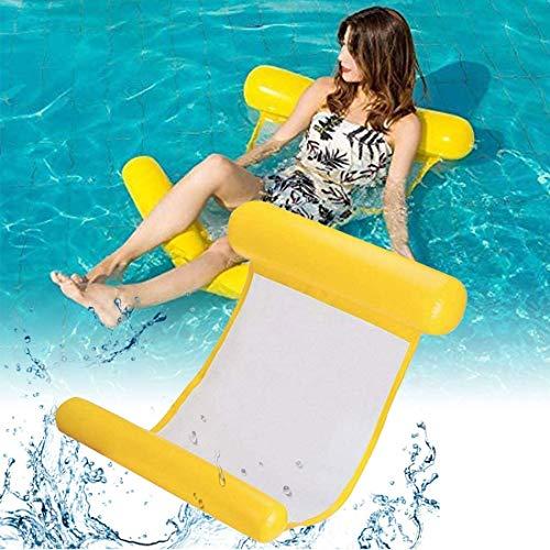 Cama flotante de agua N/O, cama flotante para tumbonas, hamaca inflable multiuso plegable, para adultos Jaune