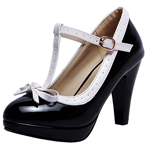 BeiaMina Damen Sweet Trichterabsatz Pumps T Spange Bow Pumps Hohe Ferse Shoes Party Hochzeit Footwear Synthetisch Lack Black Gr 46 Asian