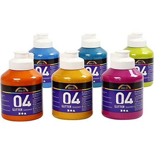 A-color Farba akrylowa, asstd. kolory, 04 - brokat, 6 x 500 ml