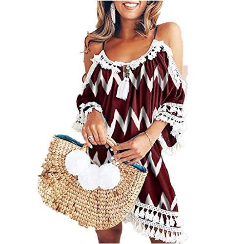 Kleid Kolylong® Damen Elegant Trägerloses Quaste Kurzarm Kleid Retro Schulterfrei Rückenfrei Kleider Kurz Boho Kleid T- Shirt Kleid Mini Sommerkleid Strandkleid Party Abendkleid (M, Red Print)