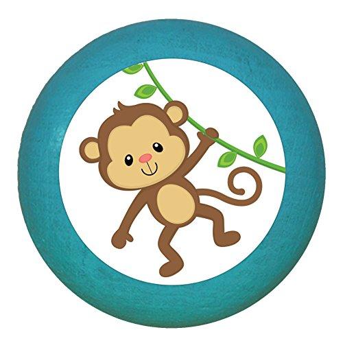 """Kindermöbelgriff""""Affe"""" petrol Holz Buche Kinder Kinderzimmer 1 Stück wilde Tiere Zootiere Dschungeltiere Traum Kind"""