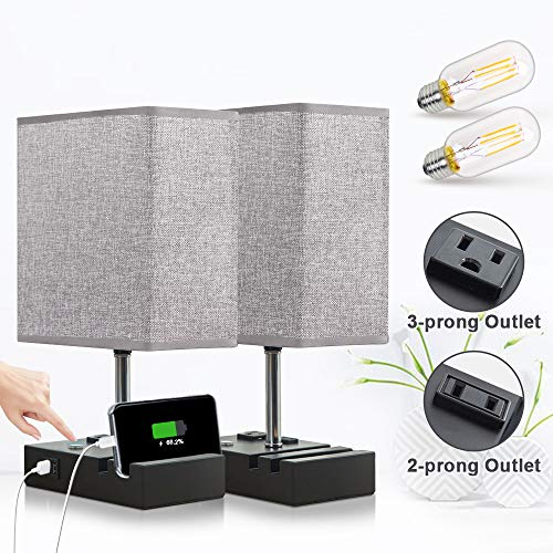 Lifeholder Touch Lamp with 2 Phone Stands,Dimmable USB Lamp Include 2 Warm Edison Bulbs, Grey Table Lamp Built in 2 USB Ports & 2 AC Outlet, Bedside Lamps Idea for Bedroom or Living Room(Set of 2)