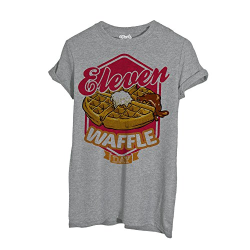 MUSH T-Shirt Stranger Things - Eleven Waffle Day - Film by Dress Your Style - Uomo-L-Grigio