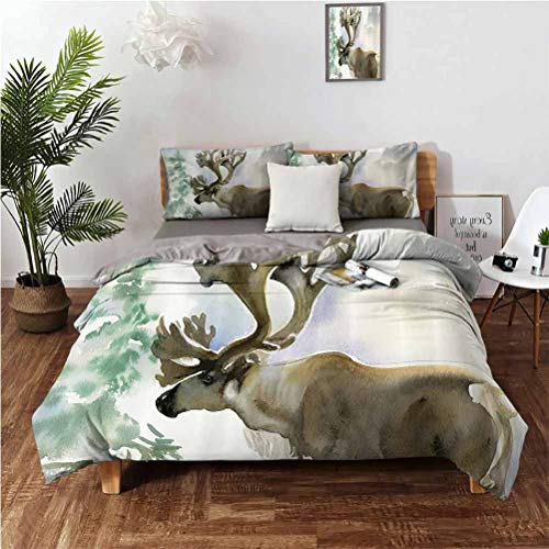 Antlers Decor Luxury Family Brushed Microfiber Suit 3-Piece Set Moose in Winter Forest Wildlife Reindeer Christmas Theme Watercolor Painting Style Art Easy to Install Breathable and Heat-dissipating