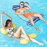 Fostoy Hamaca Flotante Piscina, Hamaca de Agua 4 En 1 Fácil de Inflar para Adultos, Tumbona Hinchable Colchoneta Hinchable Flotador Piscina Playa (Amarillo Azul)