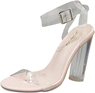 fe9e042f44 Women Heel Sandals Lucite Clear Ankle Buckle Block Chunky High Heel Open Toe  Sandal Shoes
