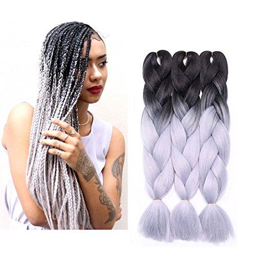 3Pcs Extensions de cheveux à tresser 60cm Extension Cheveux Tresse Braiding Hair Tressage synthétique Braids Postiche Noir à gris argenté