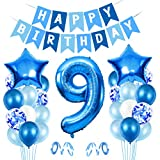 9er Cumpleaños Bebe Globos Decoracion, Globos Numeros 9 Decoracion, 9 año Cumpleaños Decoración Niño, Globos de Confeti de Latex Boy Ballon Party Cumpleaños 9 Año